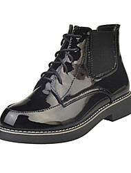 Women's Boots Fall / Winter Mary Jane / Round Toe PU / Synthetic Casual Flat Heel Slip-on Black / Gray Others