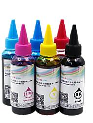6-цветной (голубой светло-голубой и светло-пурпурный пурпурный желтый черный) подходит 100 мл красителя Epson заполненные (каждая бутылка)