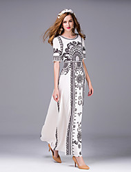 Mujer Vaina Vestido Noche Sofisticado,Estampado Escote Redondo Maxi Manga Corta Blanco Poliéster Verano Tiro Medio Rígido Medio