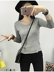 Women's Going out / Casual/Daily Simple RegularSolid Multi-color V Neck Long Sleeve Cotton