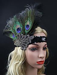 Women's Peacock Feather / Rhinestone Headpiece-Special Occasion Party Elasticity Headband Flowers 1 Piece Black