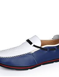 Masculino-Sapatos de Barco-Mocassim-Rasteiro-Azul / Laranja / Verde Escuro-Couro Ecológico-Escritório & Trabalho / Casual