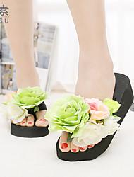 Women's Sandals Summer Platform Cotton Casual Wedge Heel Flower Blue / Yellow /