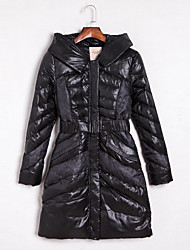 Women's Long Down Coat,Vintage Casual/Daily Color Block-Polyester White Duck Down Long Sleeve Hooded Black