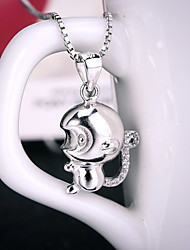 Women's Jewelry S999 Silver Charm Monkey Shapped Pendant for Women and Men