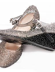 Damen-Sandalen-Lässig-Gummi-Keilabsatz-Komfort-Schwarz / Rosa / Mandelfarben