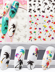 1pcs Water Transfer Nail Stick Color Black Gray Coconut Tree