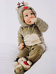 Boy Casual/Daily Animal Print  Jumpsuits Autumn Winter Pajamas Little Deer Coral Fleece Baby Climb Clothes