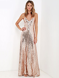 Floor-length Sequined / Polyester Bridesmaid Dress - Sexy Ball Gown Spaghetti Straps with Sequins