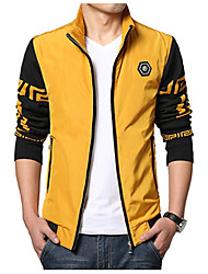 Men's Casual/Daily Simple Jackets,Color Block Stand Long Sleeve Fall / Winter Blue / Yellow Polyester Medium