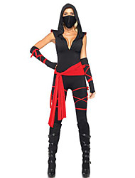 Cosplay Costumes Ninja Halloween Red / Black Print Cotton Dress / Headpiece / Gloves / Belt