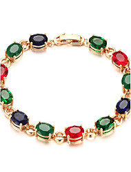 Women's Tennis Bracelet Jewelry Party/Birthday/Daily/Casual Fashion Zircon Brass Gold Plated Multicolor 1pc Gift