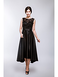 Formal Evening Dress A-line Scoop Tea-length Lace with Lace / Sash / Ribbon / Sequins