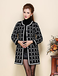 Women's Casual/Daily Vintage Coat,Jacquard Round Neck Long Sleeve Fall / Winter Black / Gray Polyester / Others Thin