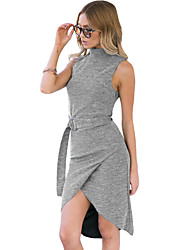 Women's Heather Grey High Neck Sleeveless Slinky Midi Dress with Belt