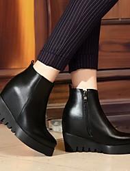 Черный-Женский-На каждый день-Кожа-На танкетке-Ботинки-Ботинки