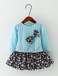 Girl's Casual/Daily Floral Dress,Cotton Spring / Fall Blue / Pink / Yellow