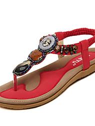 Damen-Sandalen-Kleid Lässig-PU-Flacher Absatz-Mary Jane-Schwarz Rosa Rot Mandelfarben