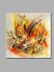 Handgemalte Abstrakt Blumenmuster/Botanisch Quadratisch,Modern Klassisch Ein Panel Leinwand Hang-Ölgemälde For Haus Dekoration
