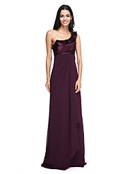 LAN TING BRIDE Floor-length One Shoulder Bridesmaid Dress - Elegant Sleeveless Chiffon Stretch Satin