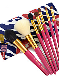 7 Makeup Brushes Set Synthetic Hair Professional / Portable Wood Face / Eye / Lip Blue Dimensions Rose Red Handle