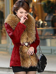 Women's Casual/Daily Simple Fur Coat,Solid Long Sleeve Winter Red / White / Black Faux Fur