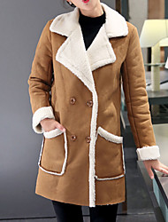 Women's Regular Padded Coat,Street chic Going out Solid-Polyester Cotton Long Sleeve Notch Lapel Beige Brown