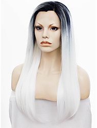 IMSTYLE 24''Heat Resistant Long Natural Straight White Synthetic Lace Front Wigs Black Root