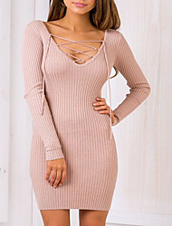 Women's Going out / Casual/Daily / Formal Sexy / Simple / Cute A Line Dress,Solid V Neck Above Knee Long Sleeve Pink / Black PolyesterAll