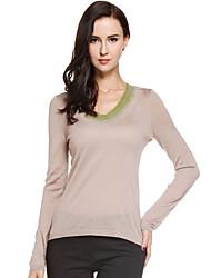 Damen Standard Pullover-Lässig/Alltäglich Einfach Solide Beige V-Ausschnitt Langarm Wolle / Acryl Herbst Dünn Mikro-elastisch