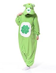 Kigurumi Pajamas New Cosplay® Bear Raccoon Leotard/Onesie Festival/Holiday Animal Sleepwear Halloween Green Patchwork Polar Fleece