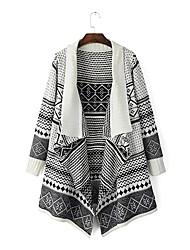 Feminino Capa / Capes Casual Simples Outono,Jacquard Branco / Cinza Algodão Colarinho de Camisa-Manga Longa Grossa