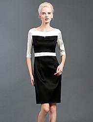 Trapèze Robe Femme Sortie simple,Mosaïque Col Arrondi Au dessus du genou Manches Longues Noir Nylon / Spandex Automne Taille HauteNon