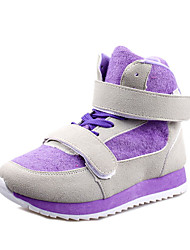 Women's Heels Winter Mary Jane Suede Outdoor Casual Low Heel Lace-up Hook & Loop Purple Red Walking