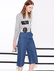 I'HAPPY  Women's Solid Blue Jeans / Wide Leg PantsStreet chic Spring / Summer