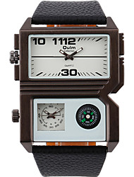 Oulm Мужской Наручные часы Compass С двумя часовыми поясами Кварцевый PU Группа Cool Повседневная Черный Белый Коричневый