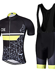 Geometric figure QKI Cycling Jersey with Bib Shorts Men's Short Sleeve BikeBreathable / Quick Dry / Anatomic Design / 5D coolmax gel pad