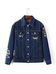 Feminino Jaquetas Jeans Casual Simples Outono,Bordado Azul Poliéster Colarinho de Camisa-Manga Longa Grossa