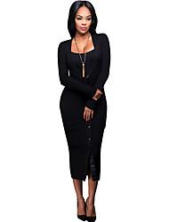 Женский На каждый день Простое / Уличный стиль Облегающий силуэт Платье Однотонный,V-образный вырез Средней длины Длинный рукавБежевый /
