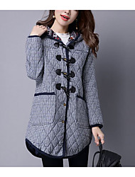 2016 winter new big yards thick cotton jacket checkered hooded coat and long sections