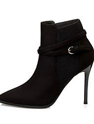 Damen-Stiefel-Kleid-Wildleder-Stöckelabsatz-Komfort-Schwarz