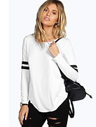 Damen Gestreift Einfach / Street Schick Ausgehen / Lässig/Alltäglich T-shirt,Rundhalsausschnitt Frühling / Herbst LangarmWeiß / Schwarz /