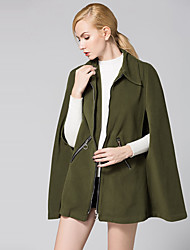 Women's Casual/Daily Vintage / Simple Cloak Loose Large Size CoatSolid Shirt Collar Long Sleeve Spring / Winter Green Polyester