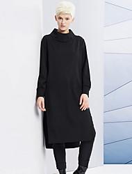 Damen Lang Hoodies-Ausgehen / Lässig/Alltäglich Einfach Solide Schwarz Rollkragen Langarm Kunstseide / Nylon / Elasthan Winter Mittel