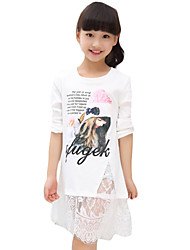 Girl's Casual/Daily Print DressCotton Spring / Fall Black / White