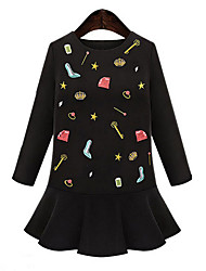 Women's Ruffle  Sheath DressSolid / Print Round Neck Above Knee Long Sleeve Black Cotton / Linen Fall Mid Rise Micro-elastic