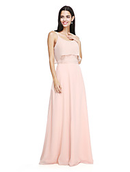 2017 lanting parole longueur bride® mousseline élégante robe de demoiselle d'honneur - bretelles spaghetti avec l'arc (s)