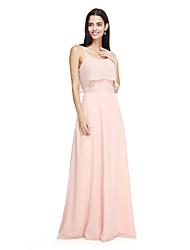 2017 Lanting Bride® Floor-length Chiffon Elegant Bridesmaid Dress - Spaghetti Straps with Bow(s)
