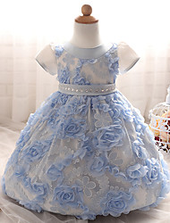 Girl's Party/Cocktail Jacquard DressPolyester Summer Blue / Green / Pink
