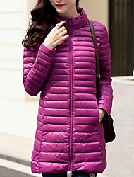 Women's Long Down CoatSimple Plus Size Solid-Polyester White Duck Down Long Sleeve Stand Blue / Pink / Red  Down Jacket